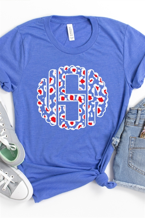Picture of Leopard Monogram USA Graphic Tee